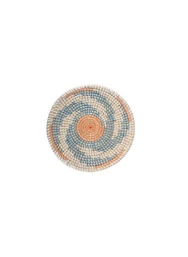 Sever Turuncu Mavi Hasır Duvar Dekor 35Cm Renkli